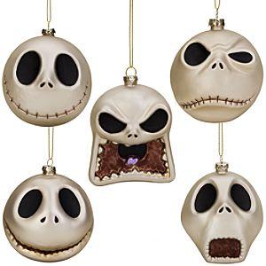 Glass Jack Skelligton Ornament Set -- 5-Pc.