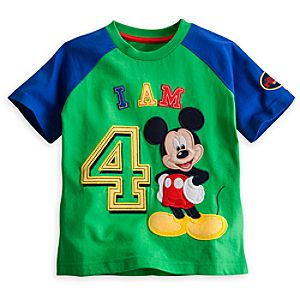 Mickey Mouse I Am 4 Birthday Tee for Boys