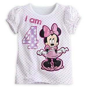 Minnie Mouse I Am 4 Birthday Tee for Girls