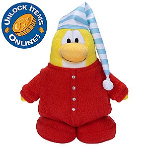 Club Penguin 6 1/2 Limited Edition Penguin Plush - Red Pajama (Semi-Rare)