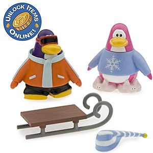Club Penguin 2 Mix N Match Figure Pack - Snowboarder and Pajama Bunny Slippers