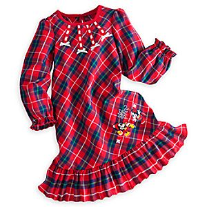 Minnie Mouse Holiday Nightshirt for Girls - Personalizable