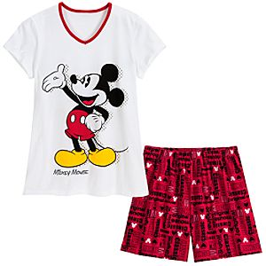 V-Neck Mickey Mouse Tee and Shorts Sleep Set -- 2-Pc