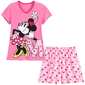 V-Neck Minnie Mouse Tee and Shorts Sleep Set -- 2-Pc
