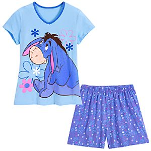 V-Neck Eeyore Tee and Shorts Sleep Set -- 2-Pc