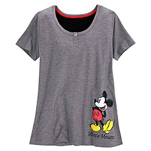 V-Neck Henley Mickey Mouse Nightshirt for Women