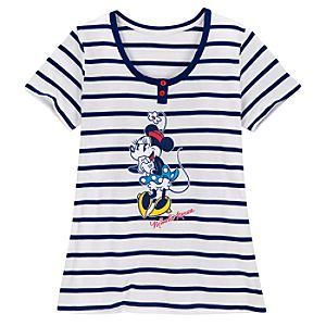 Scoop Neck Striped Minnie Mouse Nightshirt for Women