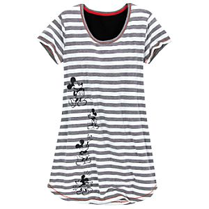 Striped Scoop Neck Mickey Mouse Nightshirt for Women