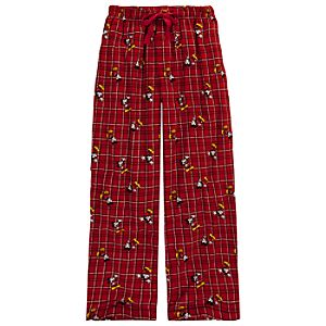 Red Plaid Mickey Mouse Lounge Pants for Men