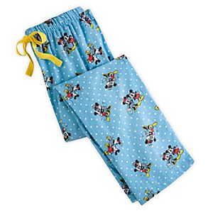 Mickey and Minnie Mouse Lounge Pants for Women - Blue