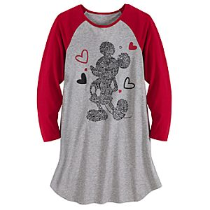 Long Sleeve Love Mickey Mouse Nightshirt for Women
