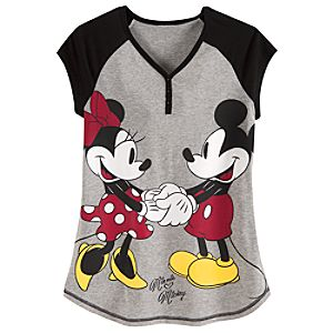 Raglan Sleeve Minnie and Mickey Mouse Nightshirt for Women