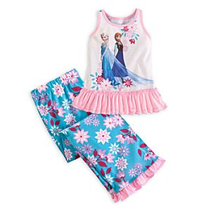 Anna and Elsa Nightshirt and Pants Sleepwear Set for Girls - Frozen