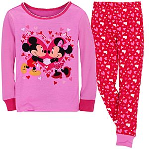 Hearts Mickey and Minnie Mouse PJ Pal for Girls
