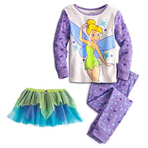 Deluxe Long Sleeve Tinker Bell PJ Pal and Tutu Set for Girls -- 3-Pc.