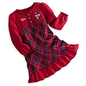 Mickey and Minnie Mouse Plaid Nightgown for Girls - Personalizable