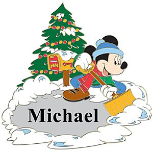 Personalized Winter Holiday Mickey Mouse Pin