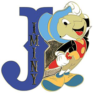 Initial Letter Series Jiminy Cricket Pin