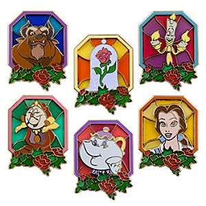 Stained Glass Beauty and the Beast Pin Set -- 6-Pc.