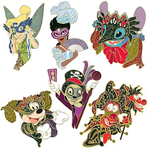 New Orleans Halloween Masquerade Pin Set -- 6-Pc.