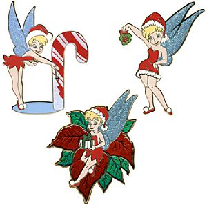 Christmas Tinker Bell Pin Set -- 3-Pc.