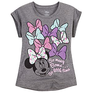 So Many Bows, So Little Time Minnie Mouse Tee for Girls