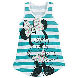 Striped Minnie Mouse Tank Top for Girls
