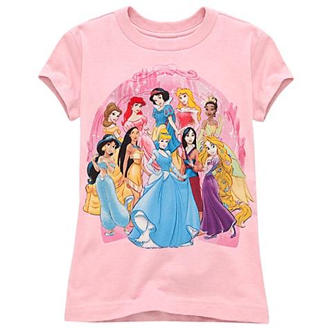 Organic Cotton Glittering Disney Princess Tee for Girls