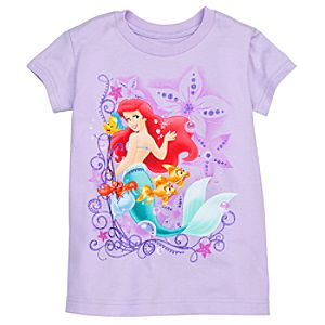 Sebastian, Flounder, and Ariel Tee for Girls -- Made With Organic Cotton