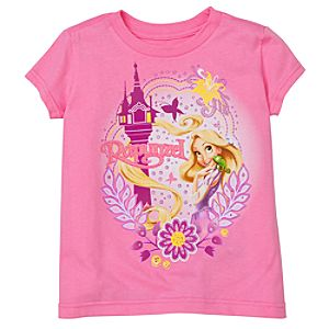 Glitter Pascal and Rapunzel Tee for Girls -- Made With Organic Cotton