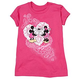 Doily Minnie and Mickey Mouse Tee for Girls -- Made With Organic Cotton
