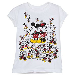 Glitter Minnie and Mickey Mouse Tee for Girls -- Made With Organic Cotton