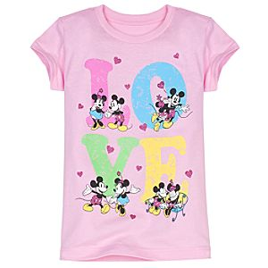 Glittering Love Mickey and Minnie Tee for Girls -- Made With Organic Cotton