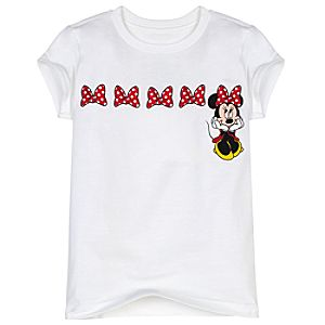Glitter Bow Minnie Mouse Tee for Girls