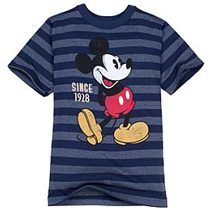 Striped Mickey Mouse Tee for Boys