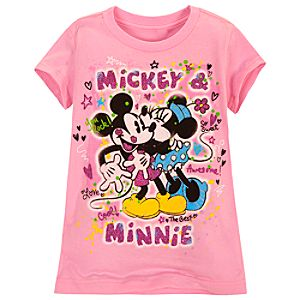 Glitter Minnie and Mickey Mouse Tee for Girls