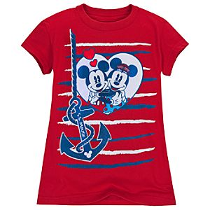 Nautical Minnie and Mickey Mouse Tee for Girls