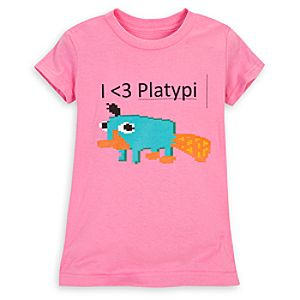 Pixelated Perry the Platypus Tee for Girls