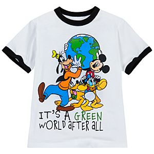 Ringer Its A Green World After All Mickey Mouse and Friends Tee for Boys