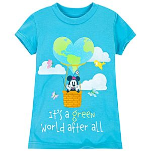 Glittering Earth Day Minnie Mouse Tee for Girls