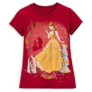 Gold Glitter Belle Tee for Girls
