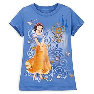 Gold Glitter Snow White Tee for Girls