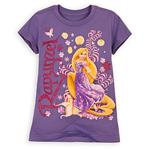 Pink Glitter Rapunzel Tee for Girls