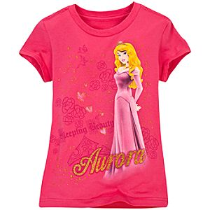 Gold Glitter Sleeping Beauty Tee for Girls