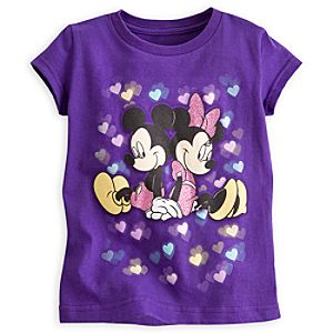 Mickey and Minnie Mouse Glow-in-the-Dark Tee for Girls