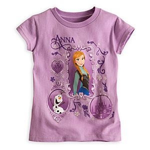 Anna and Olaf Tee for Girls - Frozen - Lavender