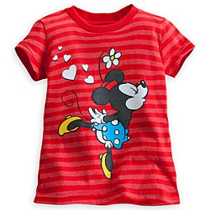 Mickey and Minnie Mouse Striped Tee for Girls
