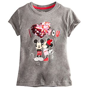 Deluxe Storytelling Minnie and Mickey Mouse Tee for Girls--Gray