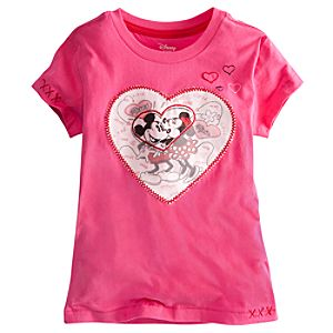 Embellished Storytelling Minnie and Mickey Mouse Tee for Girls