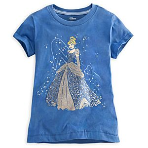 Deluxe Storytelling Cinderella Tee for Girls -- Blue